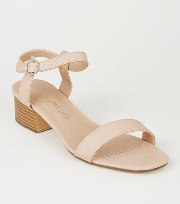 Nude 2 Part Low Block Heel Sandals