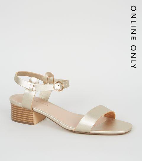 104d81b1a9f ... Gold 2 Part Low Block Heel Sandals ...