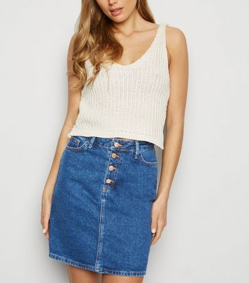 Tall Blue Washed Button Front Denim Skirt