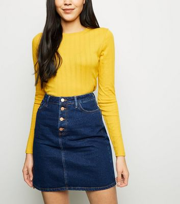 Tall Blue Button Front Denim Skirt