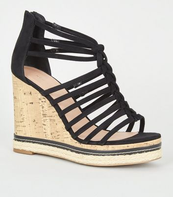 Black Suedette Knot Strap Cork Wedges