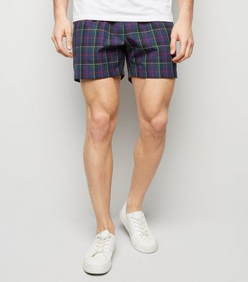 Navy Tartan Check Shorts