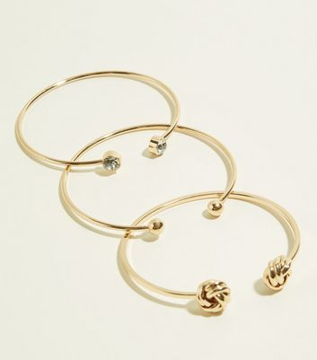 3 Pack Gold Knot and Gem Cuff Bracelets