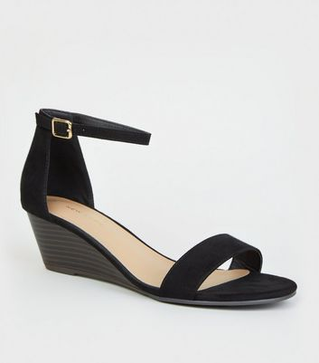 Black Suedette Low Wedge Sandals