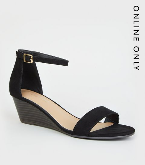 3f7a9b4e4bb1 ... Black Suedette Low Wedge Sandals ...