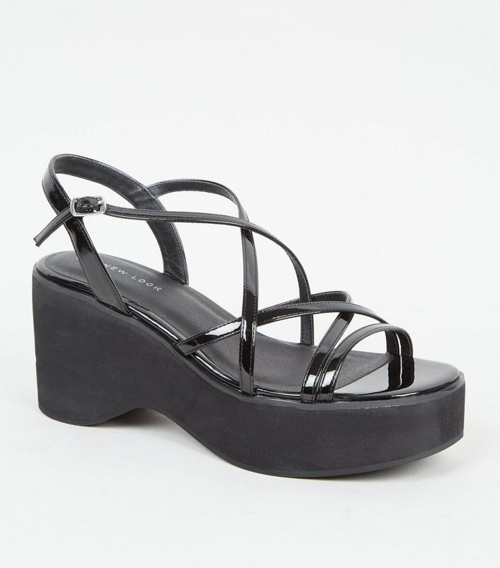 Black strappy platforms