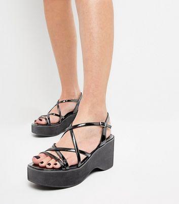 black strappy sandals platform