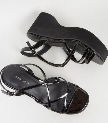 Black Strappy Platform Sandals   New Look