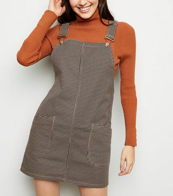 Brown Houndstooth Buckle Denim Pinafore Dress