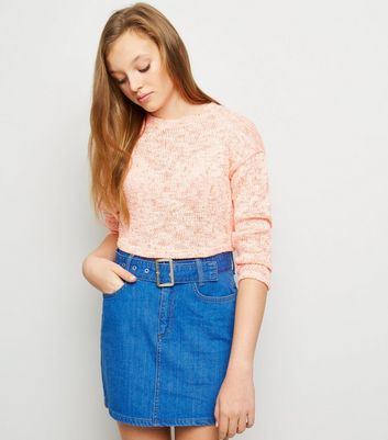 Girls Bright Blue Belted Denim Skirt