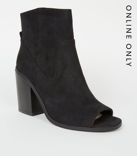 7ee276bba89 ... Black Suedette Peep Toe Western Ankle Boots ...