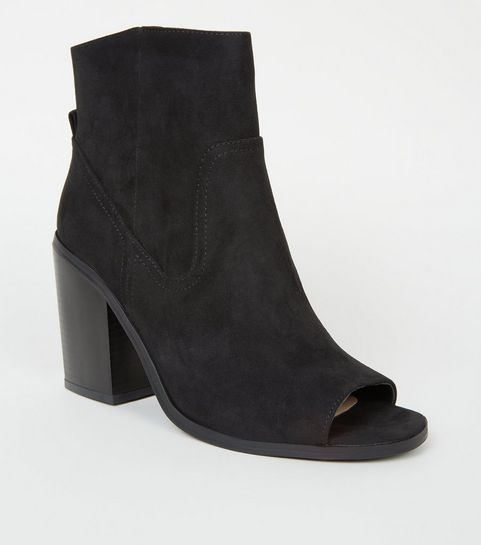 1932ae8de6f ... Black Suedette Peep Toe Western Ankle Boots ...