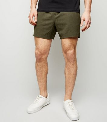 Khaki Seersucker Pull-On Shorts