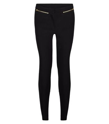 Petite Black Slim Fit Zip Bengaline Trousers New Look