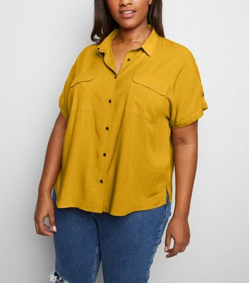 Curves Yellow Pocket Front Shirt