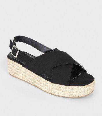 Black Cross Strap Flatform Sandals