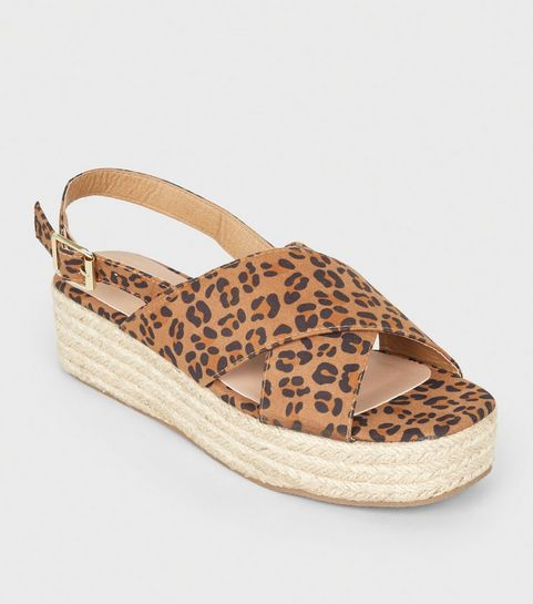 70d81c182ed ... Stone Leopard Print Cross Strap Flatform Sandals ...