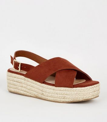 Rust Cross Strap Platform Sandals