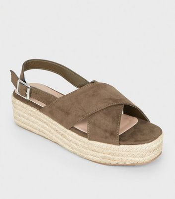 Khaki Cross Strap Flatform Sandals