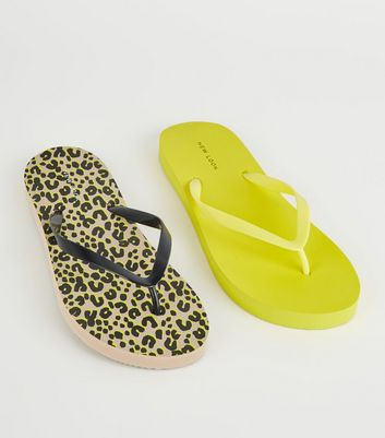 Brown Animal and Neon Yellow Print Flip Flops