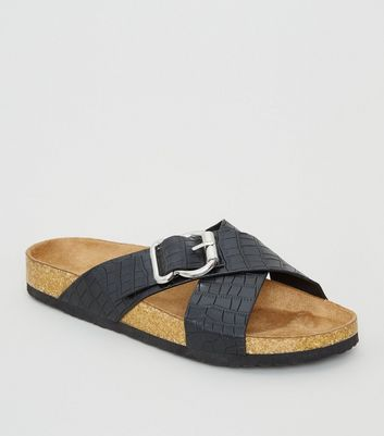 Black Faux Croc Cross Strap Footbed Sliders