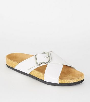 White Faux Croc Cross Strap Footbed Sliders
