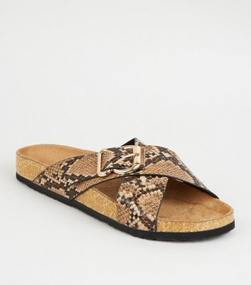 Stone Faux Croc Cross Strap Footbed Sliders