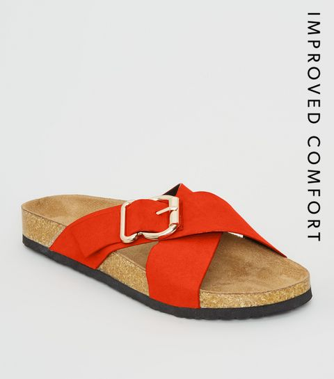 2a836bdf7 ... Orange Suedette Cross Strap Footbed Sliders ...