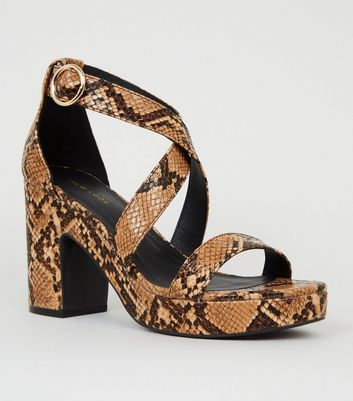 Brown Faux Snake Platform Block Heels