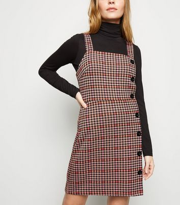 Petite Orange Houndstooth Button Side Pinafore Dress