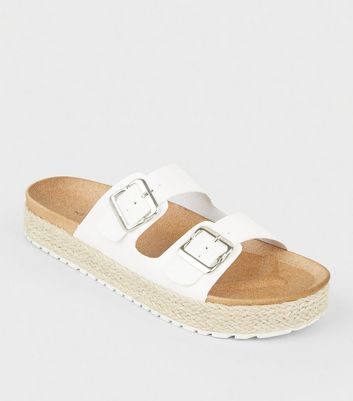 White Espadrille Flatform Footbed Sliders