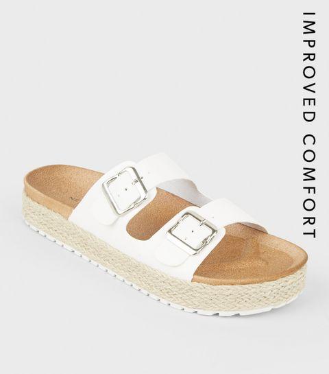 b08d4afe White Espadrille Flatform Footbed Sliders · White Espadrille Flatform  Footbed Sliders ...