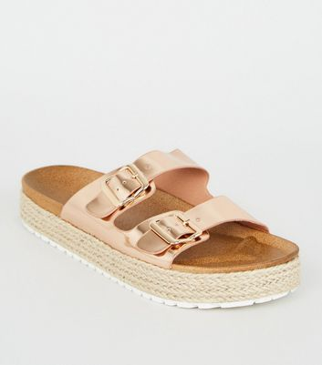 Rose Gold Espadrille Flatform Footbed Sliders