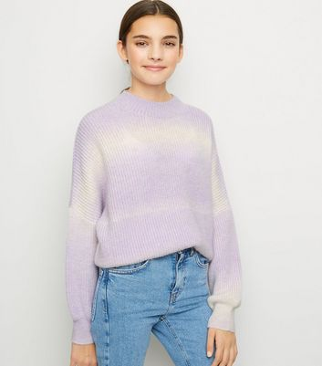 Girls Lilac Ombré Knitted Jumper