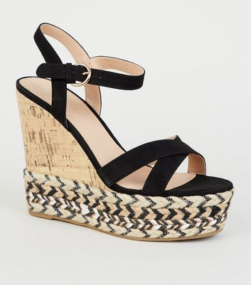 Black Chevron Trim Platform Cork Wedges