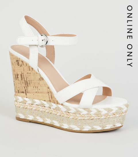 15d5a5373f7 ... White Chevron Trim Platform Cork Wedges ...