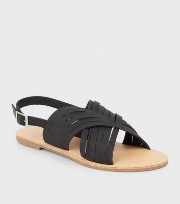 001acb03ea31b Black leather look woven slingback sandals new look jpg 720x817 Woven  slingback