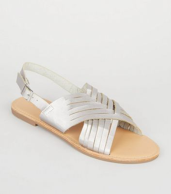 Silver Leather-Look Woven Slingback Sandals