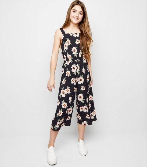200ed161ef2 ... Girls Black Floral Square Neck Jumpsuit ...