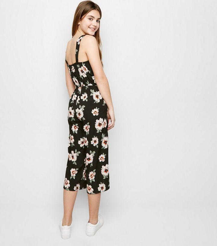 4c0b54d8258 ... Girls Black Floral Square Neck Jumpsuit. ×. ×. ×. Shop the look