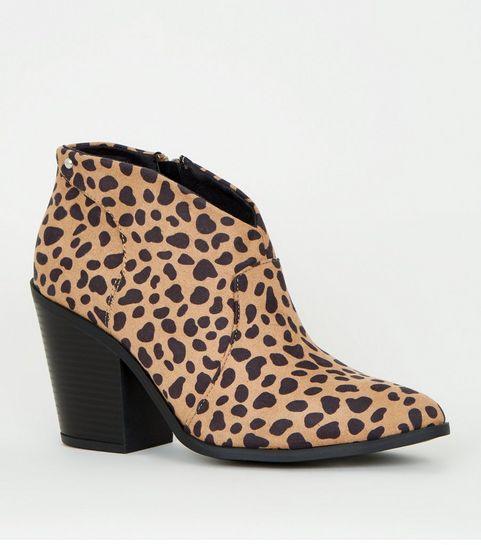 6da25e2d6650 ... Brown Animal Print Western Shoe Boots ...