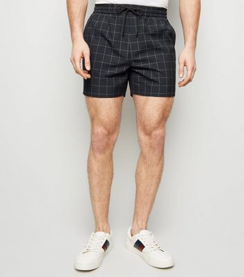 Navy Grid Check Shorts