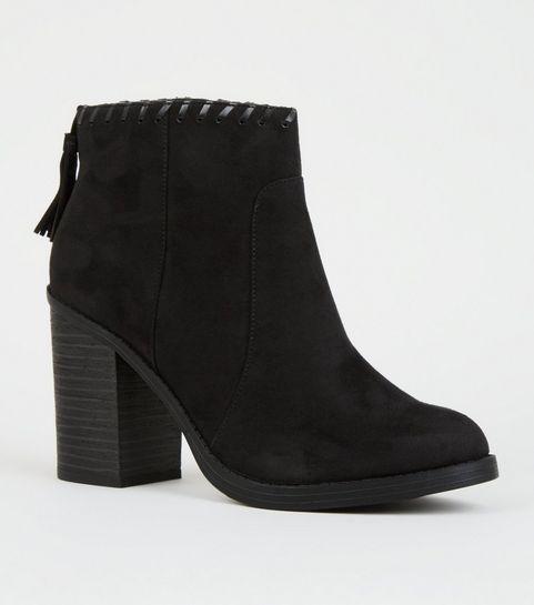 ec84d17974230 ... Black Comfort Whipstitch Tassel Trim Western Boots ...