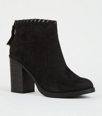 Black Comfort Whipstitch Tassel Trim Western Boots by New Look