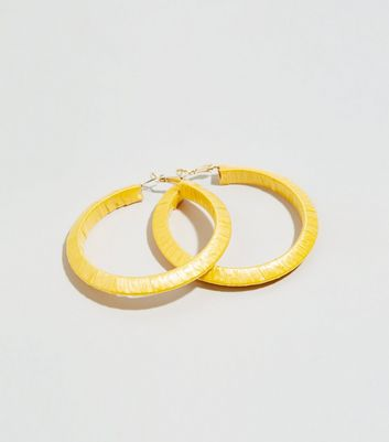 Mustard Slinky Wrapped Hoop Earrings