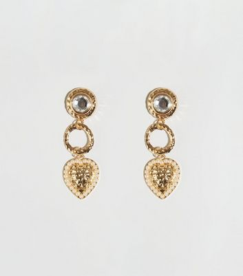 Gold Hammered Heart Drop Earrings