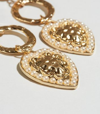 gold look hammered dropped heart earrings