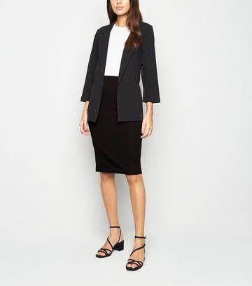 Black Textured Midi Pencil Skirt