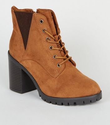 Wide Fit Tan Suedette Lace Up Boots