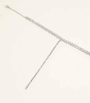 RE:BORN Silver Diamanté Cup Chain Choker